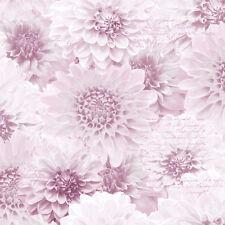 6 X Pink Chrysanth Natural Flower Floral Script Muriva Feature Wallpaper 128504
