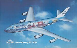 Original Vintage Poster KLM Royal Dutch Airline Boeing 747-300 Airplane Travel