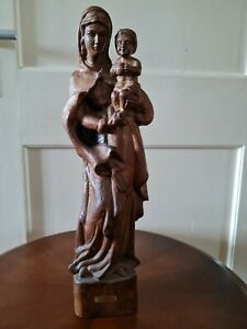 Alte Holzfigur heilige Maria mit Kind, Naturholz geschnitzt, 48cm hoch
