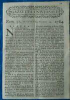 1784 'GAZZETTA UNIVERSALE' NOTIZIE SU GUERRA NELLE FIANDRE E MONGOLFIERA A MALTA