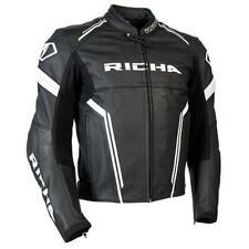 Richa Monza Motorcycle Motorbike Leather Sports Jacket - Black / White