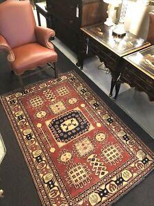 Auth:  80's Vintage Caucasian Rug   Geometric Pak KAZAK   Beauty  Wool 5x7    NR