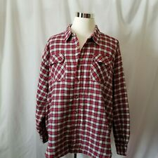 Wrangler Men's 3XL Long Sleeve Quilted Lined Red White Flannel Shirt Jacket