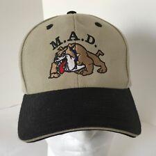 M.A.D. Bulldog Baseball Cap Tan and Black Wool Blend Adjustable