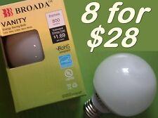 (8x) CFL Vanity Globe Compact Fluorescent G25 Bulbs - 14watt  Warm White  ~60w