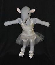 Peluche doudou souris Michèle Lépinay danseuse tutu transparent crème 39 cm TTBE
