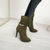 Damenschuhe Reißverschluss Stiefeletten Spitz High Heels Pumps Schuhe Ankleboots