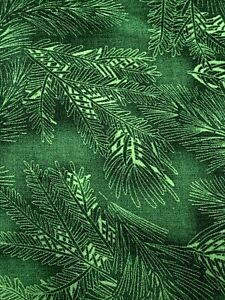 Pine Branches Hoffman Fabric 100% Cotton Quilting Fabric 1 Yard Evergreen