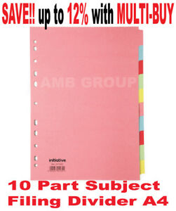 10 Part Subject Filing File Dividers A4 Multi Punched Coloured