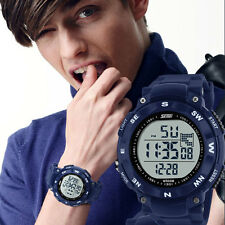 Blue Mens LED Digital Alarm Date Quartz Sport Watch Waterproof Rubber Wristwatch