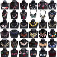 Women Crystal Flower Bib Pendant Necklace Choker Chunky Statement Charm Jewelry
