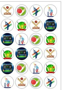24 PRECUT Cricket Sport Round Edible Wafer Paper Cupcake Cake Toppers