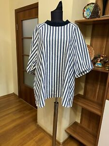 SUNNEI COTTON BLEND DENIM WASHED WHITE/NAVY A-LINE OVERSIZED BLOUSE-SIZE M
