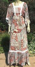 Vintage 70s India Print Gauze Crochet Boho Hippie Maxi Dress  11