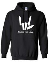 Share The Love Kids Hoodie (Black/White Print) Ages 3-13 Hooded Sweatshirt