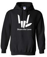 Share The Love Kids Hoodie (Black/White Print) Ages 3-13 Hooded Sweatshirt