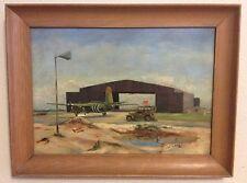 Vintage Military Painting Signed Lt H F Noss Hanger Airplane Jeep Framed