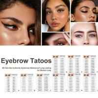 6D 10 Pair Waterproof False Eyebrow Stamp Sticker Lasting Makeup Brown A A3T5