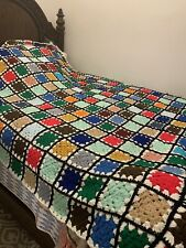 NEW HAND CROCHET GRANNY SQUARE COVERLET BLANKET THROW TWIN FULL QUEEN MULTICOLOR