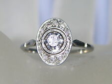 Antique Art Deco  18k White Gold Sparkling Engagement Diamonds  Ring
