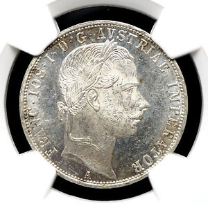 AUSTRIA. Franz Joeseph I, Silver Florin, 1860-A, NGC MS62, Prooflike mirroring