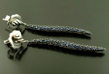 David Yurman 925 Sterling Silver Earrings With Blue Diamonds