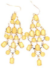 Boho style yellow acrylic stone chandelier earrings