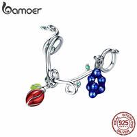 BAMOER S925 Sterling silver Charms Sweet fruit & CZ Fit Women Bracelet Jewelry