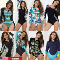 Women's Rashguard One Piece Long Sleeve UV Protection Surfing Swimsuit Swimwear