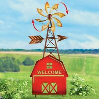 """Country Style Rustic Red Barn """"WELCOME"""" Metal Yard Wind Spinner Garden Stake"""