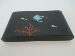 Hand Painted Japanese Lacquer Ware Trinket Box LID Wood Inlaid Abalone Fish Vtg