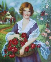 Lady Basket of Roses Cottage Garden art print