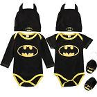 Newborn Baby Boy Batman Romper Bodysuit+Shoes+Hat Clothes 3Pcs Outfits Set 0-24M