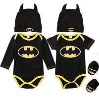 3Pcs Neonato Bambino Ragazzi Batman Tutina+Scarpe+Cappello Salopette Completi