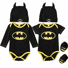 3Pcs Newborn Toddler Baby Boy Bat Romper Shoes Hat Clothes Outfit Costume