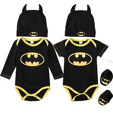 3Pcs Newborn Baby Boys Infant Batman Rompers + Shoes + Hat Playsuit Outfits Sets