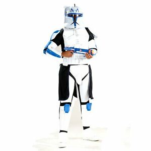 Licensed Star Wars Clone Wars DELUXE ADULT CLONE TROOPER CAPTAIN REX COSTUME
