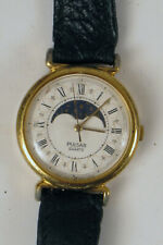 PULSAR MOON PHASE WRISTWATCH QUARTZ WATCH FOR PARTS OR REPAIR NEEDS BATTERY !