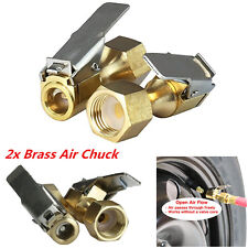 2Pcs Heavy Duty Straight Brass Lock-on Female 1/4'' NPT Tyre Inflater Air Chuck