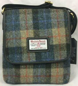 Authentic Harris Tweed Annie Shoulder Bag Blue / Camel Design New