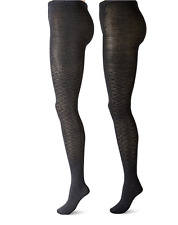 Anne Klein Women's Pointelle Argyle Patterned Knit Tights (Pack of 2) Black S/M