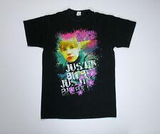 Justin Bieber 2010 My World Tour T Shirt Small black neon tee concert singer vtg