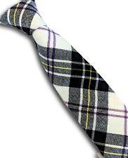 Black & white clan tartan pure wool tie woollen plaid wedding ties 6 available