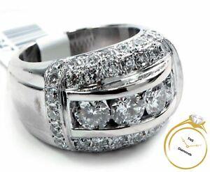 Men's 6.5ct Bling Diamond Bridge Ring 14k White Gold Size 9 - 28 Grams w/ Video!