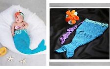 Handmade Baby Mermaid 3 Piece Crochet Set for Newborn Photo Prop