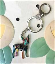 Boston Terrier Enamel Charm Keychain - New - Free Shipping