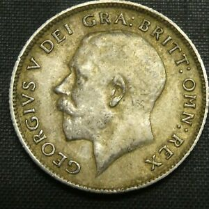 1917 Great Britain 6 Pence Sixpence Silver Coin GEORGE V KM# 815