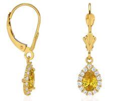 Lágrima Colgante Pendientes Largos 14K Oro Amarillo Macizo Diamante y Citrino