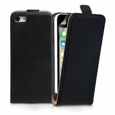 BLACK REAL Leather Flip Case Cover for Apple iPhone 5/5S UK FAST FEE POST
