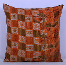 "24"" KANTHA PILLOW CUSHION COVER THROW Indian Floral Embroidered Handmade Throw"